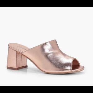 BOOHOO Rose Gold Metallic Peeptoe Mules